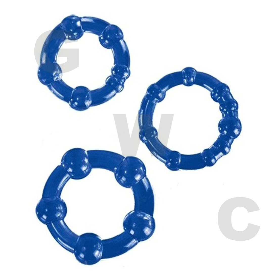 (Bulk) Textured Cockring Trio Blue