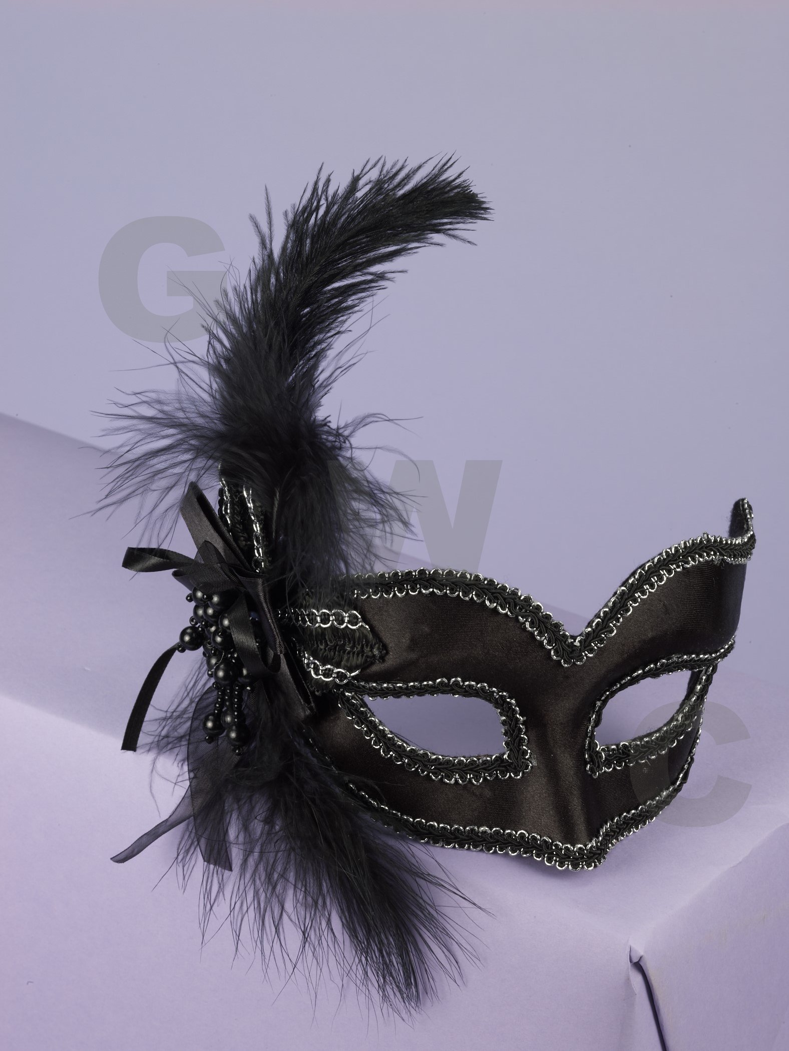 Mask with Glasses Black Satin with Feather