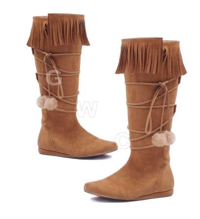 Dakota - 1 inch Heel Boot With fringe and poms