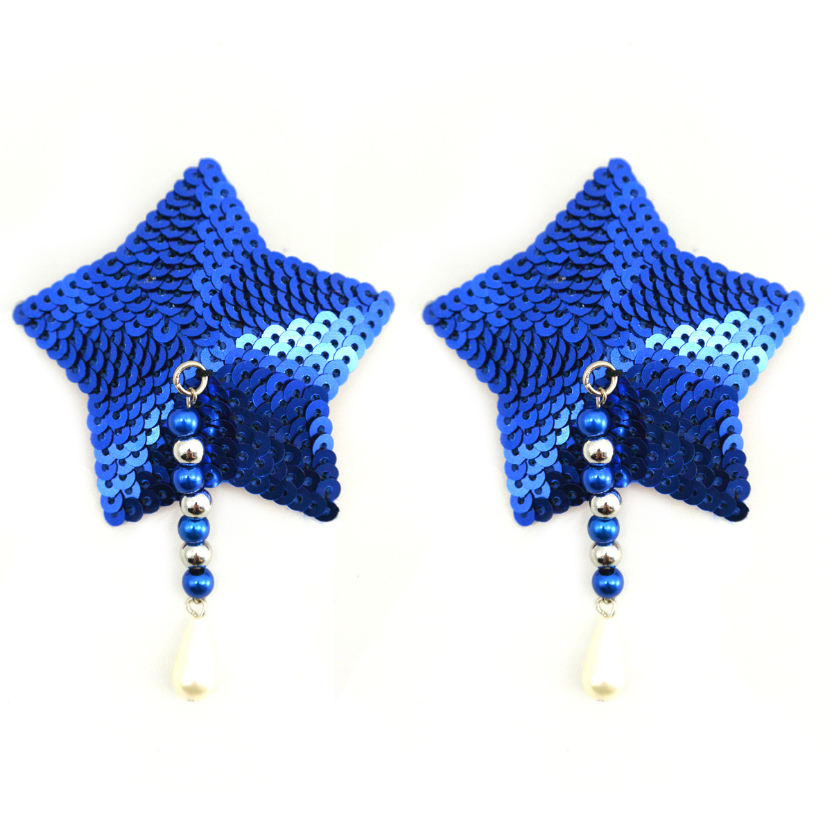 Bijoux Nipple Covers Sequin Star with Beads Blue