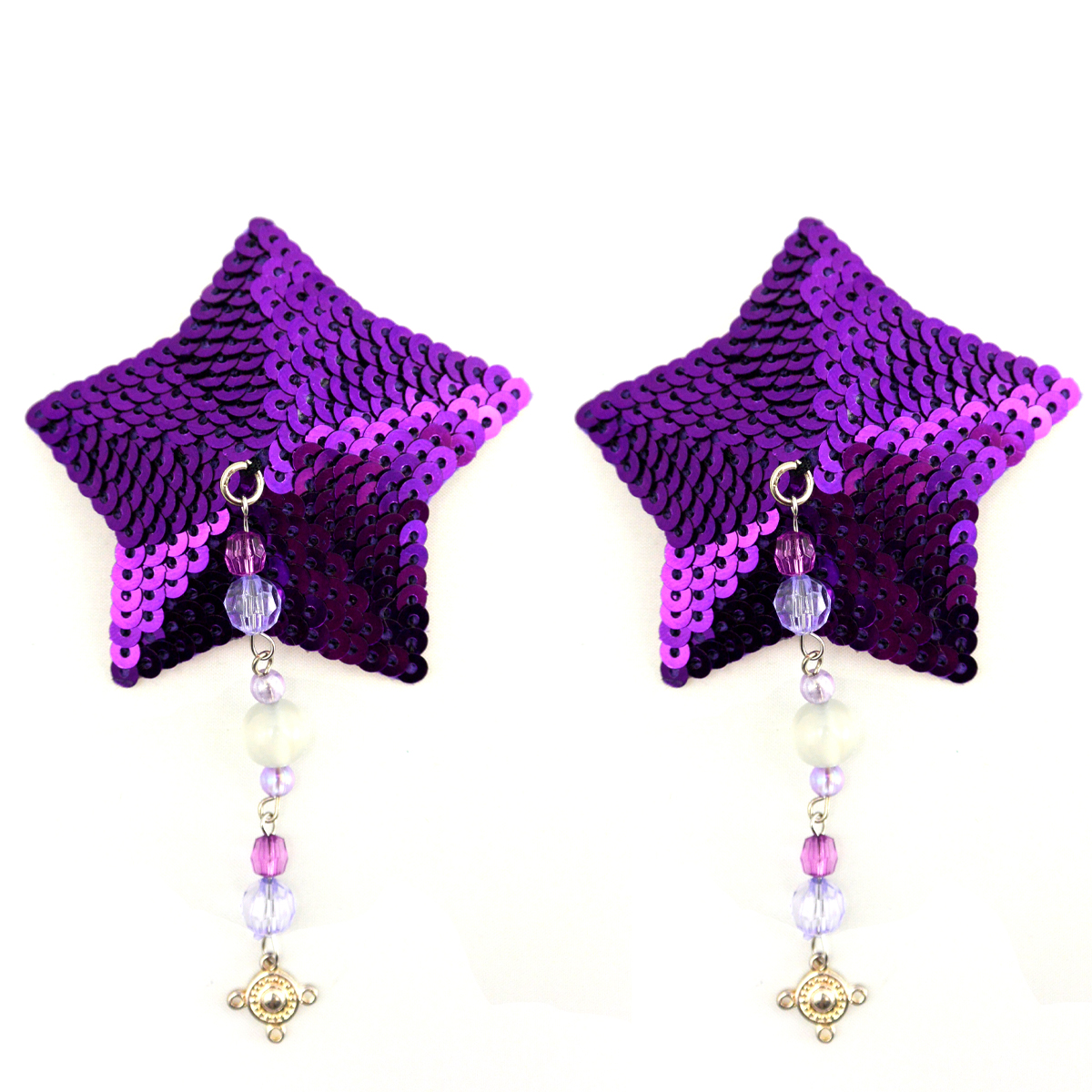 Bijoux Nipple Covers Sequin Star with Beads Pewter Charm