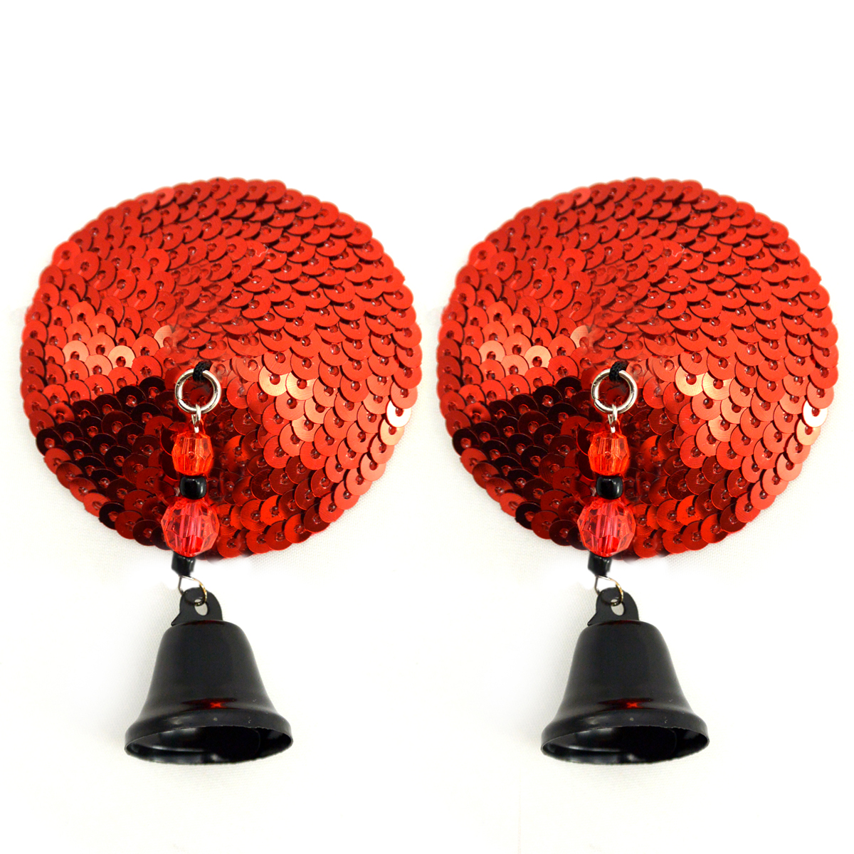 Bijoux Nipple Covers Sequin Round with Bells Red
