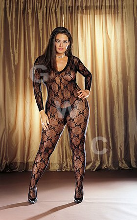 "Body Stocking Black One Size Queen ""Bordeaux"""