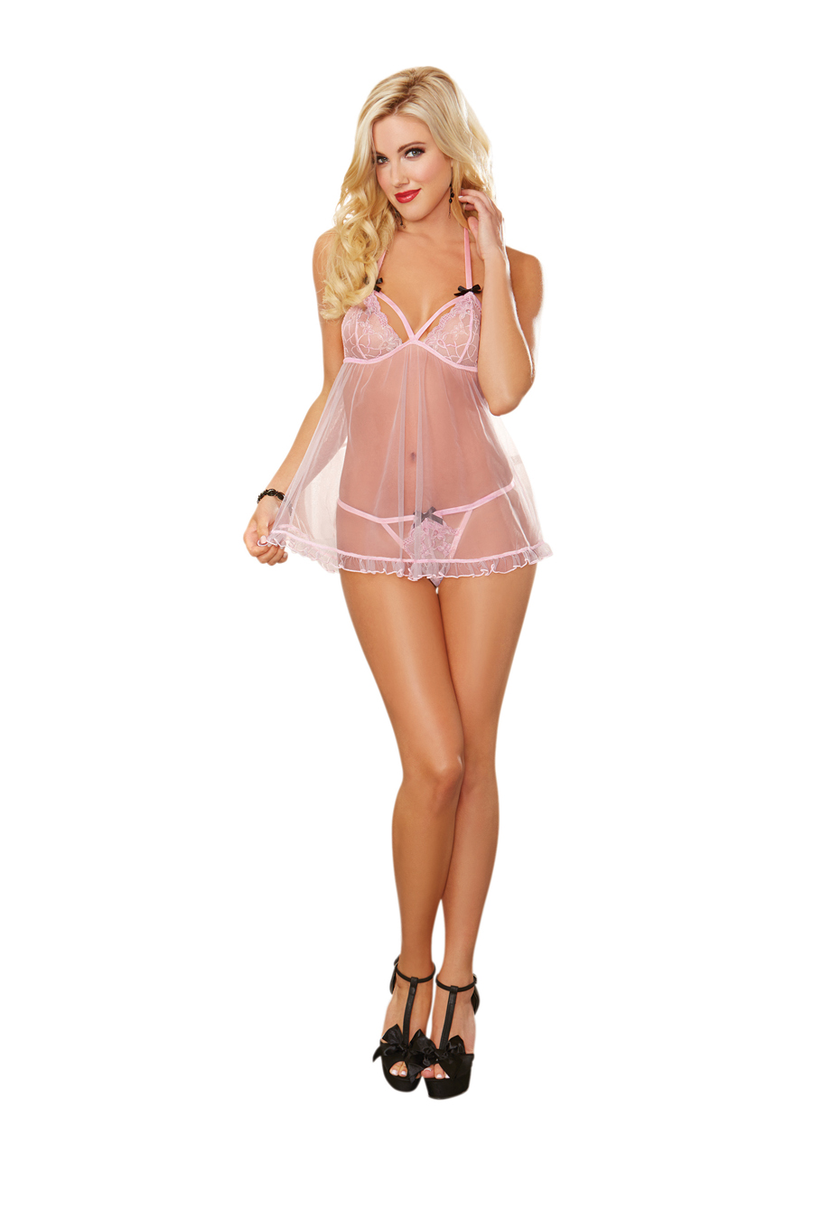 Mesh Baby Doll & G String Pink One Size