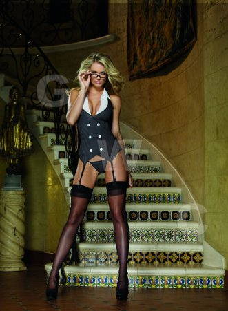 Working Late, Garter Dress, Thong & Glasses Black One Size
